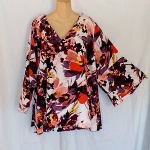 Lane Bryant Large Bell Sleeved Floral Blouse Sz 26